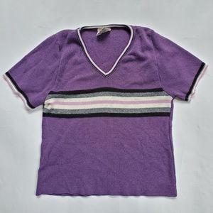 High Sierra purple cropped knit top short sleeve S